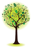 Green tree with ecological icons Stock Photography