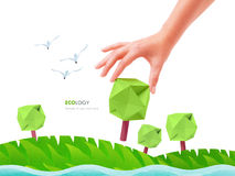 Green tree ecology. Green tree in the hand ecology concept plant royalty free stock photos