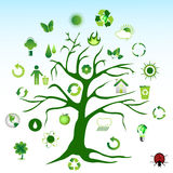Green tree and environmental icons Stock Image