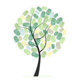 Green tree with finger prints vector illustration Stock Photos