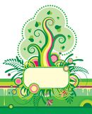 Green tree and a floral banner Stock Image