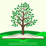Green tree grows from open book. Ecology infographics concept, template for ecological print product. Vector. Green tree grows from open book. Ecology royalty free illustration