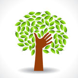 Green tree with hands-shaped trunk and leaves Stock Image
