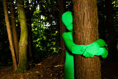 Green Tree Hugger Royalty Free Stock Photos