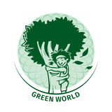 Green tree hugging man Royalty Free Stock Photo
