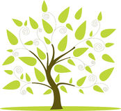 Green tree icon with leaf isolated Royalty Free Stock Photos