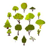 Green tree icons set, flat style. Green tree icons set. Flat illustration of 16 green tree vector icons for web Stock Images