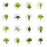 Green tree icons set, flat style Stock Images