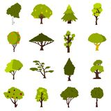 Green tree icons set, flat style Stock Photography