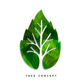 Green tree leaf concept symbol for nature care. Green tree leaf texture concept design for environment care or nature help project. EPS10 vector Stock Image
