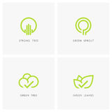 Green tree and leaves - nature logo set Stock Photography