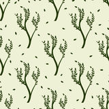 Green tree and leaves seamles pattern Royalty Free Stock Images
