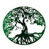 Green tree of life, isolated vector. A green stamp is a tree of life with dense roots. Green planet is an idea for a logo Stock Photos