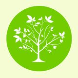 Green tree logo flat circle icon vector Stock Photography
