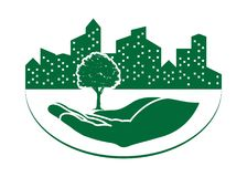 Green tree logo. On human hand with city background. nature icon and ecology concept, vector illustration royalty free illustration