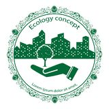 Green tree logo. On human hand with city background. nature icon and ecology concept, vector illustration vector illustration
