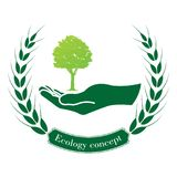 Green tree logo. On human hand. nature icon and ecology concept, vector illustration Royalty Free Stock Photos