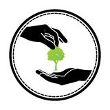 Green tree logo. On human hand. nature icon and ecology concept, vector illustration Stock Photography