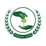 Green tree logo. On human hand. nature icon and ecology concept, vector illustration Royalty Free Stock Photography