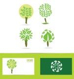 Green tree logo icon set Stock Photo