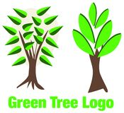 Green tree logo with leafs Stock Image