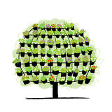 Green tree made from floral pots, sketch Royalty Free Stock Photography