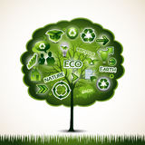 Green tree with many ecological icons Royalty Free Stock Photos