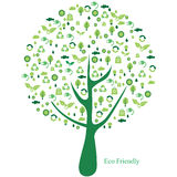 Green tree with many ecological icons Royalty Free Stock Image