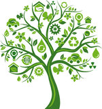 Green tree with many environmental icons Royalty Free Stock Photos