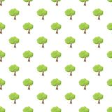 Green tree pattern. Seamless repeat in cartoon style vector illustration Stock Photos