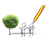 Green tree and pencil Stock Photos