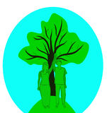 Green tree and people Stock Photo