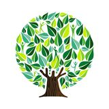 Green tree with people for nature care concept. Tree made of green leaves with people inside. Nature concept, community help or social care campaign. EPS10 stock illustration