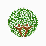 Green tree people symbol for community team help Royalty Free Stock Images