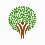 Green tree people symbol for community team help. Green tree symbol with people silhouettes. Concept illustration for nature care or environment project. EPS10 Stock Images