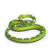 Green tree python. 3D rendering of a  green tree python with clipping path and shadow over white Royalty Free Stock Photography