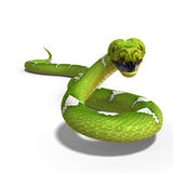 Green tree python. 3D rendering of a  green tree python with clipping path and shadow over white Royalty Free Stock Photos