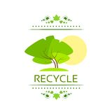 Green tree recycle flat eco icon vector Royalty Free Stock Photos