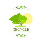 Green tree recycle flat eco icon vector Royalty Free Stock Photos