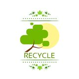 Green tree recycle flat eco icon vector Royalty Free Stock Photography