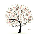 Green tree with red berries for your design Stock Photography