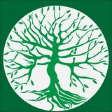 Green tree with roots. royalty free illustration