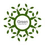Green tree round 100% natural bio icon. Eco organic concept. Royalty Free Stock Photography