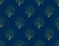 Green Tree Seamless on Indigo Blue Background. Vector Illustration. Royalty Free Stock Images