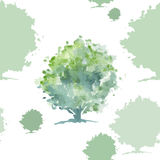 Green tree seamless pattern Stock Photography