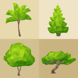 Green tree set formed by triangles, polygon  Royalty Free Stock Images