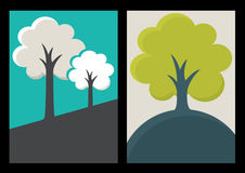 Green tree silhouette illustration. Set of vector nature organic Royalty Free Stock Photo