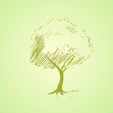 Green tree sketch bright silhouette vector Stock Image