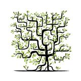 Green tree square shape for your design Stock Image