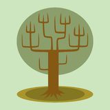 Green tree with trunk and branches. On a neutral background stock illustration